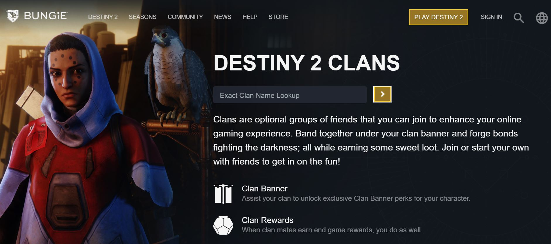Making Clan of Destiny 2 Via Bungie Website